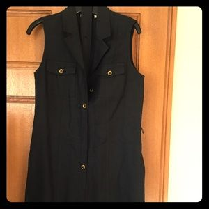 Woman's black Linen shirt dress